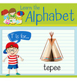 Flashcard letter T is for teepee vector image vector image