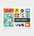 flat mass media infographic concept vector image