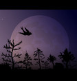 forest on the background of the moon and vector image