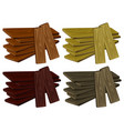 four piles of wood in different colors vector image vector image