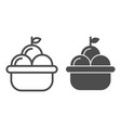 fruit basket line and glyph icon basket of apples vector image vector image