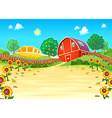 Funny landscape with the farm and sunflowers vector image vector image