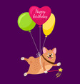 funny puppy flies on air balloons vector image vector image