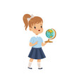 girl standing with globe at geography lesson vector image vector image