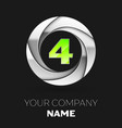 green number four logo symbol in the silver circle vector image vector image