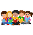 Happy Children Sitting while Reading Books vector image