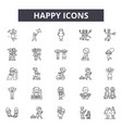 happy line icons signs set outline vector image vector image