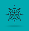 isolated linear icon of sea wheel vector image vector image