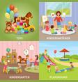 kindergarten flat design concept vector image vector image