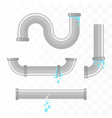 leaking pipes isolated broken pipeline vector image