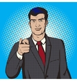 Man pointing forward finger pop art style vector image