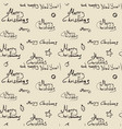 merry christmas calligraphic seamless pattern on vector image vector image