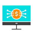 money symbol on computer screen icon vector image vector image