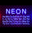 neon light color blue font english alphabet and vector image vector image