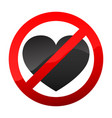 no love heart sign vector image