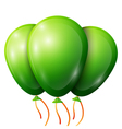 Realistic green balloons with ribbon isolated on vector image