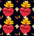 sacred heart cross rose seamless pattern old vector image vector image