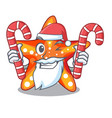 santa with candy underwater sea in the starfish vector image vector image