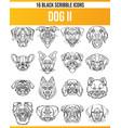 scribble black icon set dogs ii vector image vector image