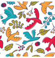 seamless pattern with cute cartoon birds vector image vector image