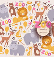 seamless pattern with zoo animals vector image