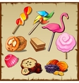 Set of sweets and dried fruits nine icons vector image vector image