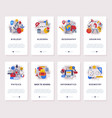 set school subjects mobile app onboarding vector image