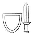 shield with warrior sword vector image vector image