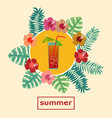 summer tropical cocktail background with palm vector image