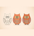 three funny owls vector image