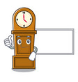thumbs up with board grandfather clock character vector image vector image