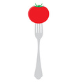 Tomato on fork vector image vector image