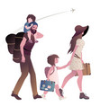traveling hipster family with suitcases and vector image vector image