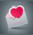 valentine s day heart in an envelope vector image vector image
