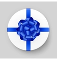 White Gift Box with Shiny Blue Bow and Ribbon vector image vector image
