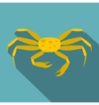 Yellow crab icon flat style vector image vector image