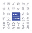 line icons set music vector image