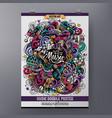 cartoon hand-drawn doodles musical poster vector image