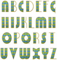 alphabet of checkered letters vector image