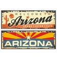 arizona state retro souvenir sign plate vector image