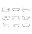 Bathtub interior icons set outline style