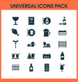 beverages icons set with fish sausage tavern and vector image