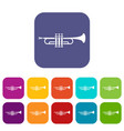 brass trumpet icons set vector image vector image