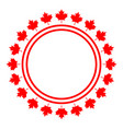 canadian flag symbolism red maple round frame logo vector image vector image