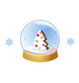 christmas snow globe with snowflakes isolated on vector image vector image