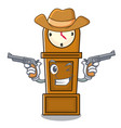 cowboy grandfather clock character cartoon vector image