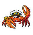 crab in marine captain cap vector image