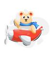 cute bear with plane cartoon