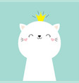 cute cat kitten face head icon kawaii kitty vector image vector image