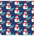 cute christmas pattern with snowman vector image vector image